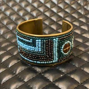Free People Boho Triable Seed Beaded Cuff Bracelet